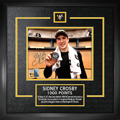 Sidney Crosby - Signed & Framed 8x10 Etched Mat 1000th Point (Puck Penguins Mat Pittsburgh)