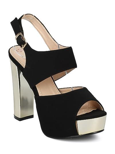 cf98faa500e Alrisco Women Peep Toe Metallic Platform Slingback Block Heel Sandal HD28 -  Black Leatherette (Size