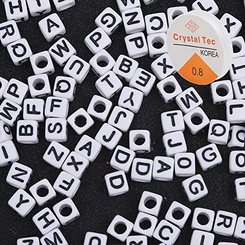 Letter beads alphabet beads for kids kandi beads for jewelry making supplies 600Pcs white acrylic alphabet letter A-Z cube beads for bracelets necklace key chains and kids jewelry elastic stretch cord