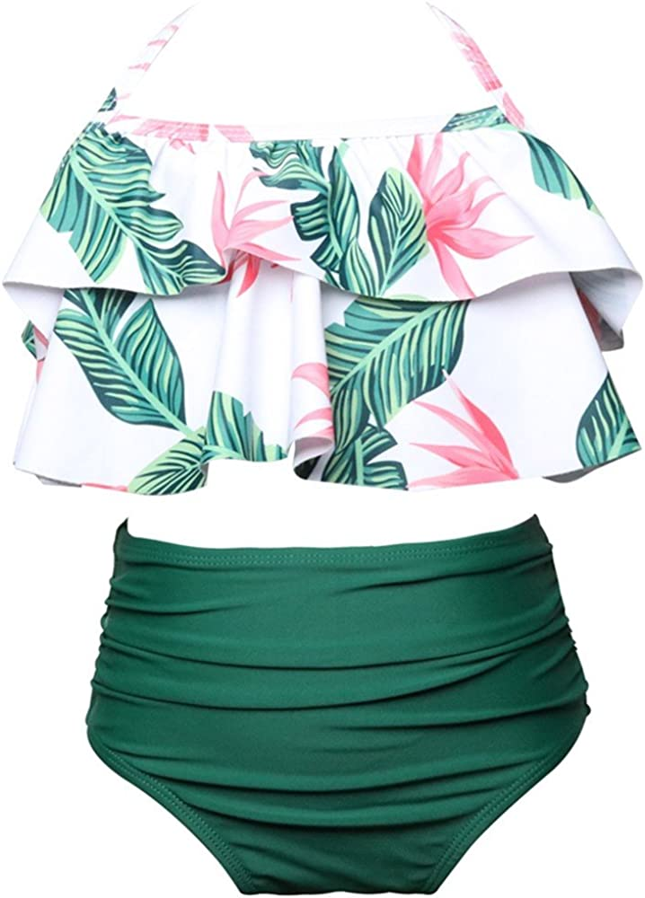 Topgrowth Costumi da Bagno Bambina Costume Ragazza Mare Due Pezzi Ruffles Stampa Top Pantaloncini a Vita Alta Set