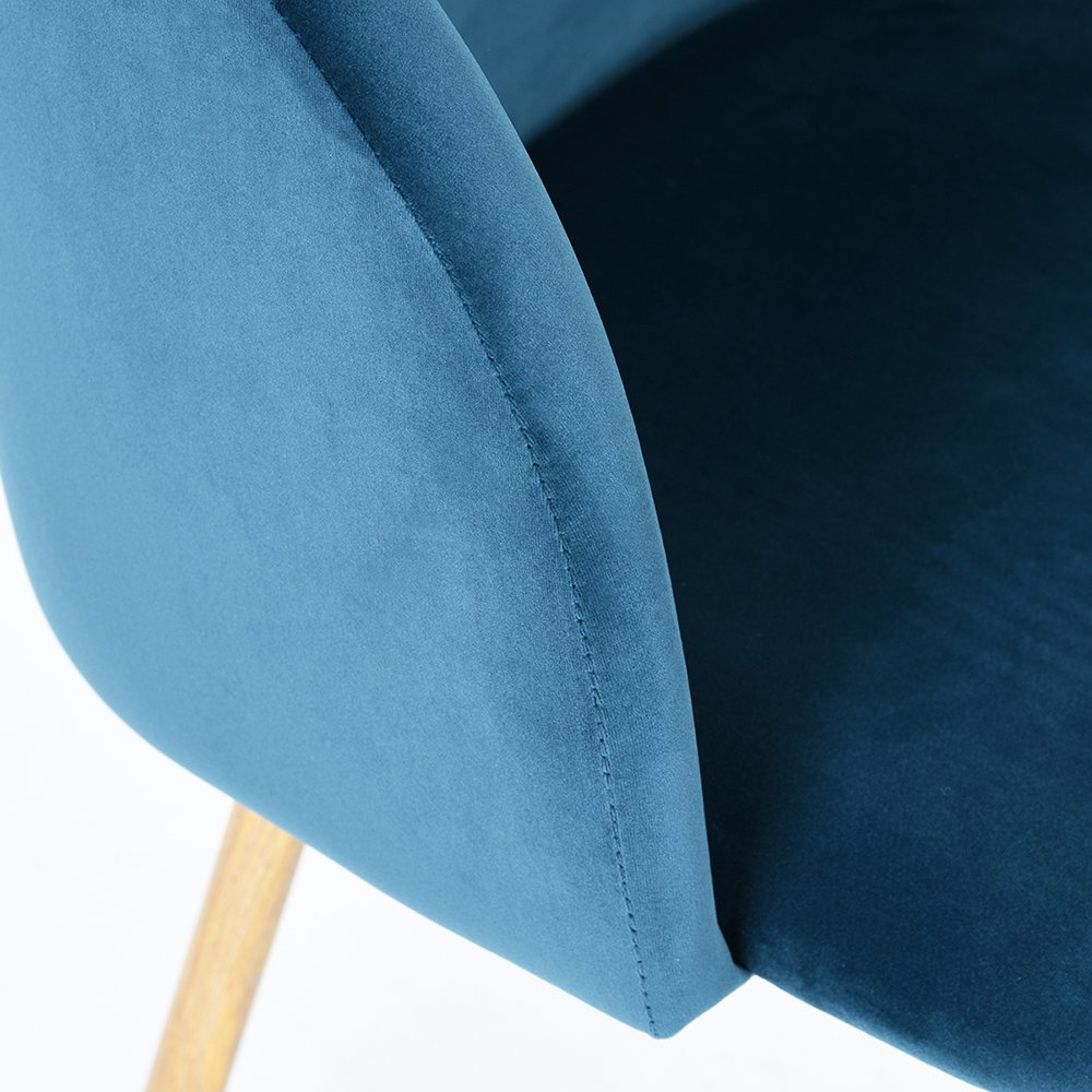 with Metal Chair Legs EGGREE Dining Chairs Vintage Velvet Armchairs Accent Chairs for Living Room Bedroom Kitchen Blue