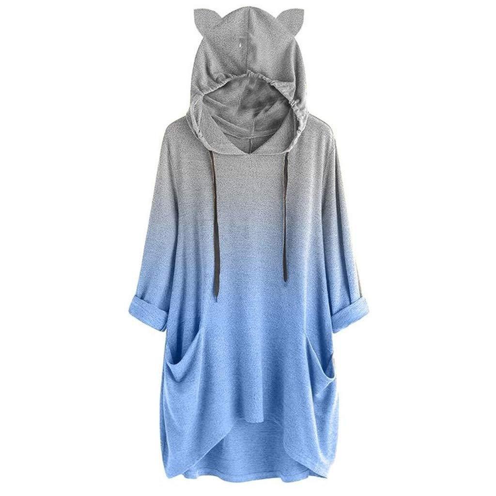 ★ Futurelove ★ Cat Ear Hooded Sweatshirt Pocket Hoodie for Womens Girls Gradient Pullover Long Sleeve Tunic Cute Tops Blue by ★ Futurelove ★
