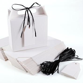 Caja Bolsa de Papel Kraft con Etiqueta Cinta para Dulces Regalos Recuerdo Detalle para Boda (blanco): Amazon.es: Hogar