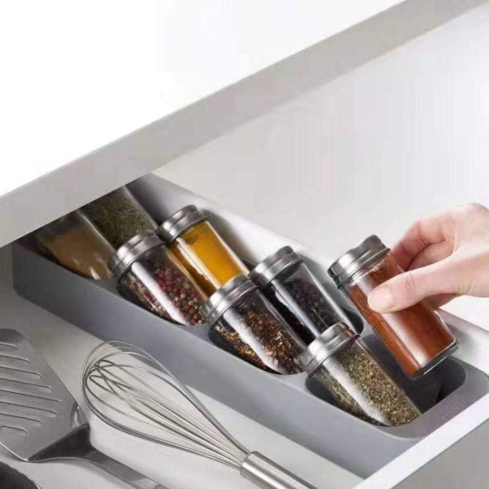 Organizador de tarro de especias Armario de caj/ón Caja de almacenamiento de botella de tarro de especias 8 rejillas Organizador Soporte Hosehould Suministros de cocina