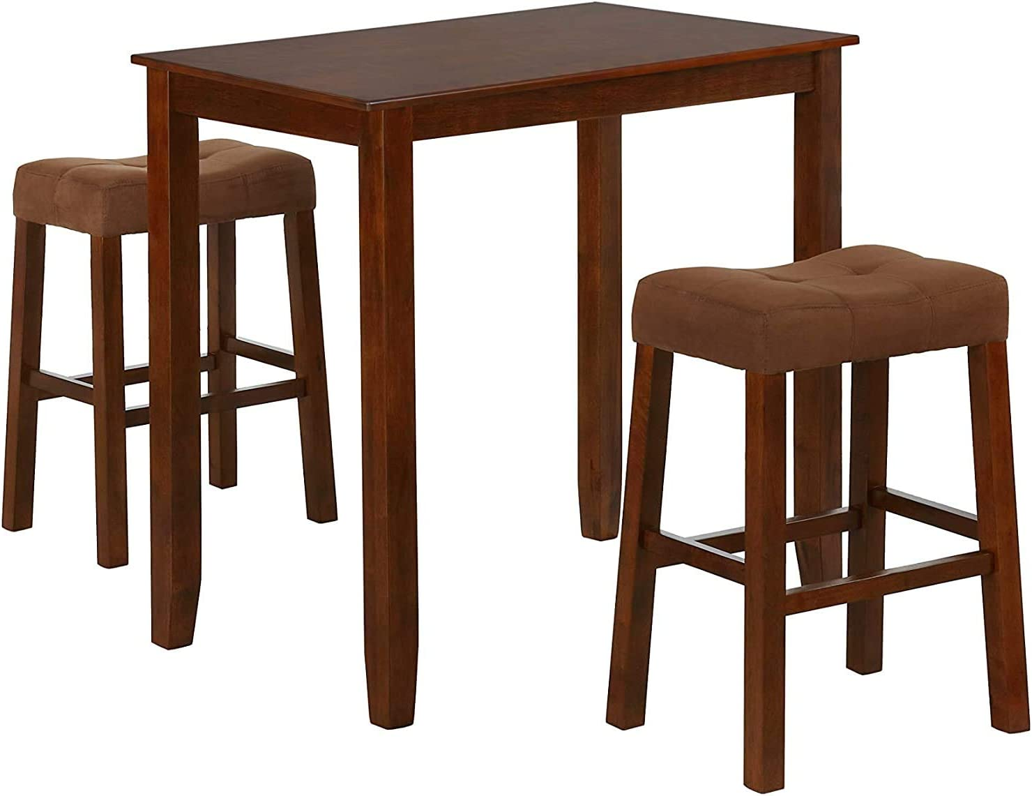 Nathaniel Home 3 Piece Dining Table Set, Counter Height Dining Furniture One Bench and Two Saddle Stools, Compact, Space-Saving Design, Small Space, Apartment, Condo, Dorm Rooms (Oak 61219-78)
