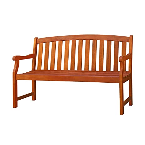 VIFAH V275 Outdoor Wood Bench, Natural Wood Finish, 60 By 23.2 By 35.4