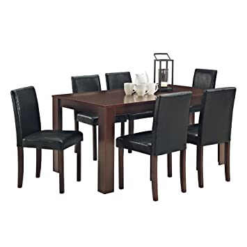 Phenomenal Large Walnut Effect Dining Table With Faux Leather Chairs Bench Table 2 Benches Caraccident5 Cool Chair Designs And Ideas Caraccident5Info