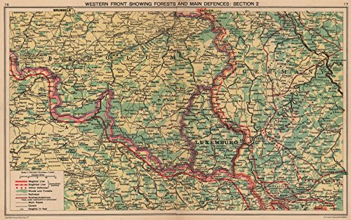 WORLD WAR 2. Maginot & Siegfried lines defences. Pre-invasion. Belgium - 1940 - old map - antique map - vintage map - Western Front map s