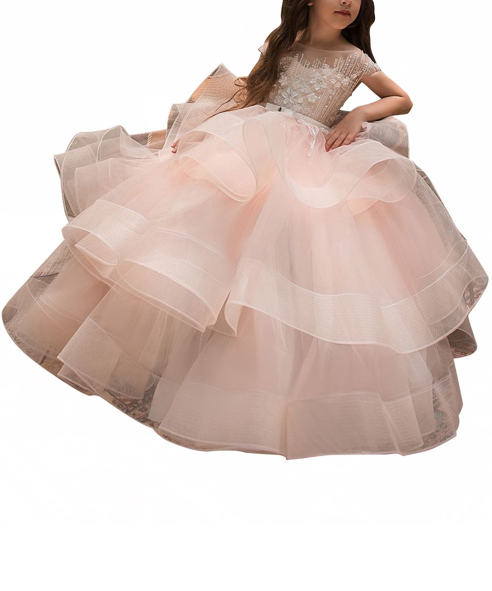 WDE Long Pink Little Girls Pageant Dresses for Wedding Kids First Communion Prom Ball Gown Size 4