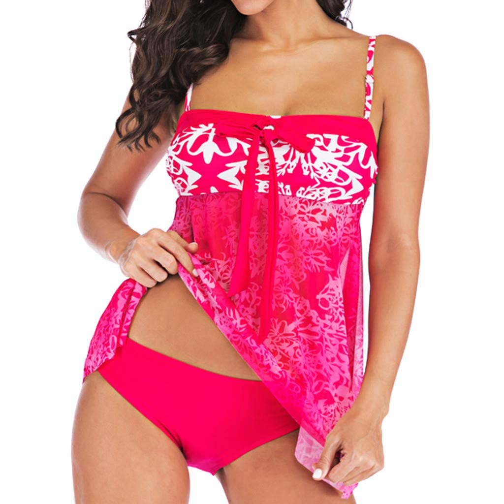 MURTIAL Women Tankini Sets Plus Size Bikini Set Swimwear Push-Up Padded Bra Swimsuit