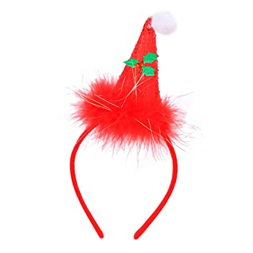 204a60b98c784 Amazon.com   Bicolor Christmas Headband for Women Xmas Antlers Headwear  Accessories-Deer Angel Wings Santa Claus Caps Snowflake Headbands  Decorations for ...