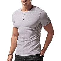 Hombres Ajustado Manga Larga Henley Camiseta Casual Cuello Pico Camisetas Algodón