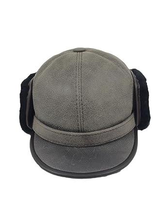 54f35d18 Zavelio Women's Shearling Sheepskin Elmer Fudd Pilot Visor Hat XX-Large Gray