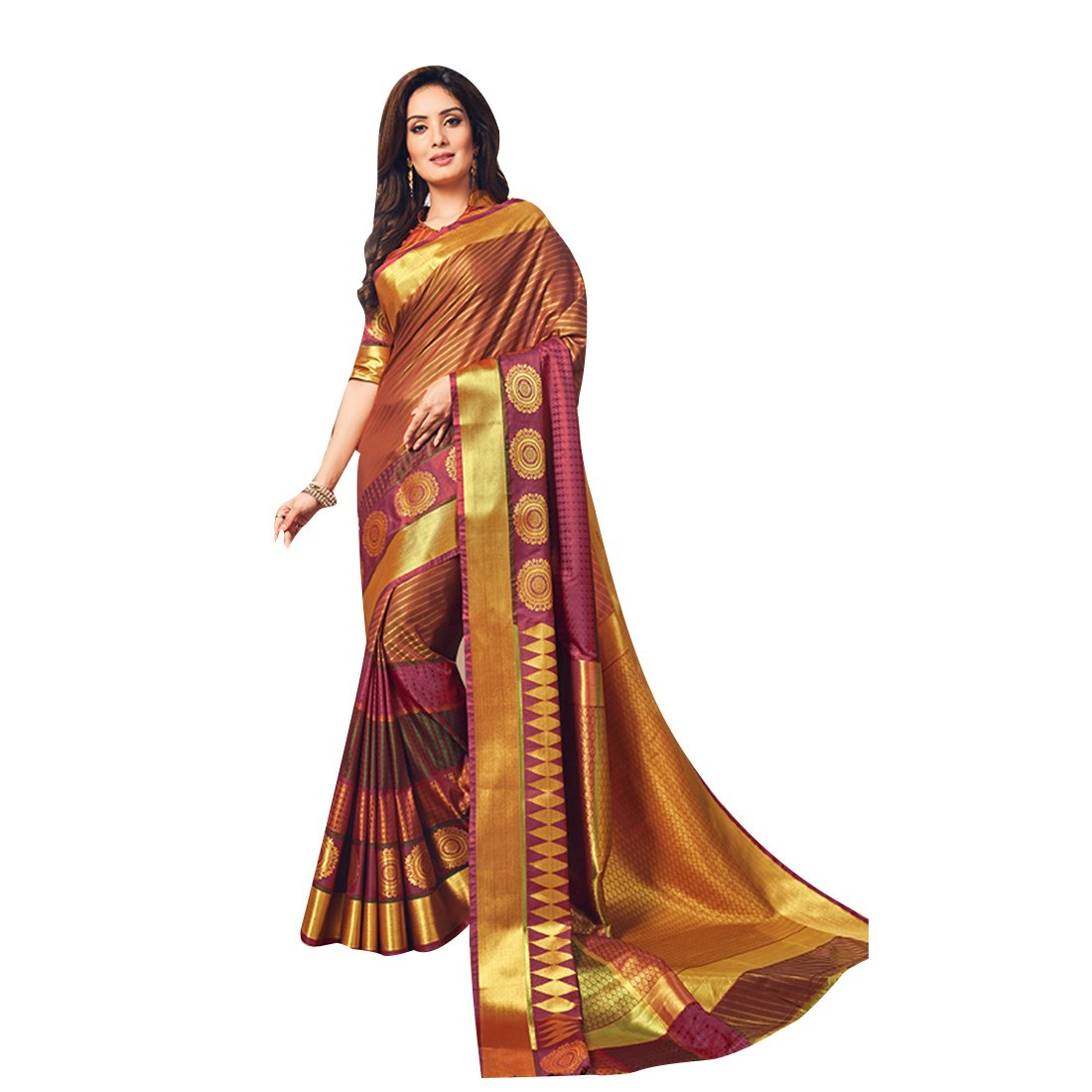 ad87720ff9518b Craftsvilla Women s Silk Blend Maroon Saree with Stripe Zari Work Contrast  Traditional Pallu and Unstitched Blouse Piece  Amazon.in  Clothing    Accessories
