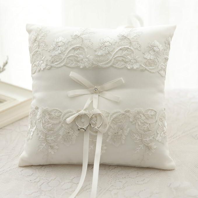Amazon Com Woodbury Wedding Ring Bearer Pillow Lace Embroided