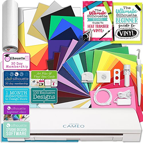 Silhouette CAMEO 3 Bluetooth Creative Bundle with 24 Oracal Permanent 651 Sheets and 12 Siser Easyweed Heat Transfer Sheets (Best Vinyl For Silhouette Cameo)