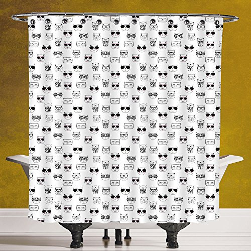 Waterproof Shower Curtain 3.0 by SCOCICI [ Cat,Cool Hipster Cat Portraits with Sunglasses Funny Faces Humor Characters Doodle Decorative,Black White Pink ] Fabric Bathroom Decor Set with - Used By Secret Sunglasses Service