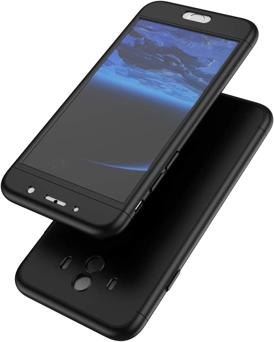Herbests Compatible with Huawei Mate 10 Lite Case without Tempered Glass Screen Protector 360 Front and Back Full Body Coverage 360 All Round Protective Shockproof PC Hard Case,Black