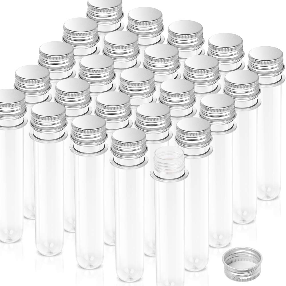Test Tubes, YGDZ 25pcs Clear Plastic Test Tubes with Caps, Size 25x140mm(40ml), Birthday Goodie Bags, Bath Salt Vials for Party Decoration