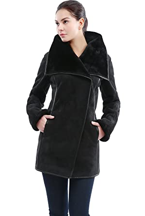 BGSD Women's Heidi Faux Shearling Coat - Black L at Amazon Women's ...