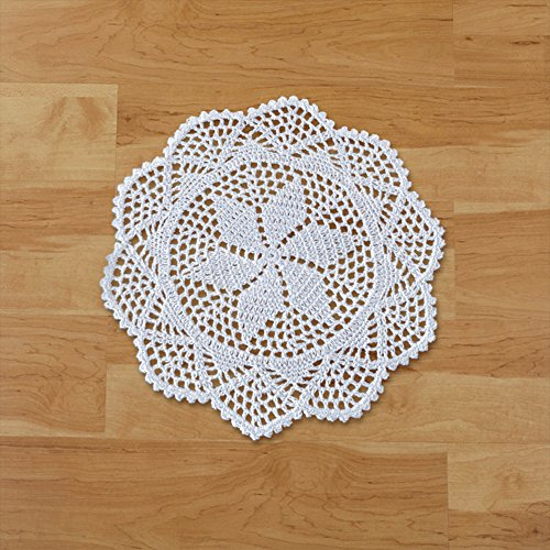 yazi 7 Handmade Cotton Placemats Doily Crochet Lace Table Doilies Round Coasters White Placemats for Dining Table