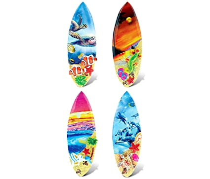 CoTa Global Colorful Surf Boards - 3D Designs - Summer Magnet (4pc Set) -