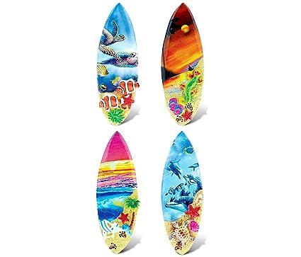 CoTa Global Colorful Surf Boards - 3D Designs - Summer Magnet (4pc Set) -