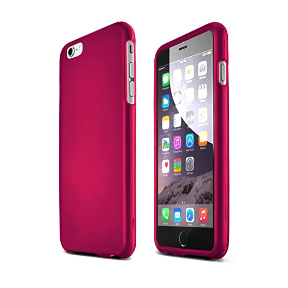 big sale 9b461 cce1e Hot Pink Apple iPhone 6 Plus Matte Rubberized Hard Case Cover; Perfect fit  as Best Coolest Design Plastic Cases