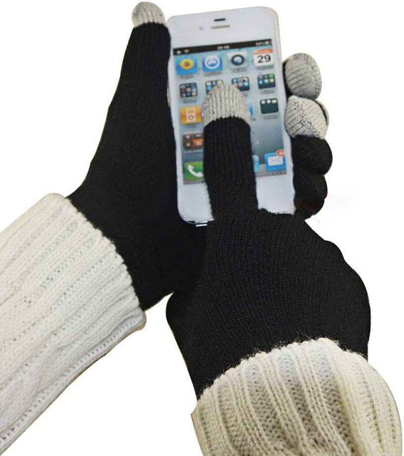 nuoshen Ladies Gloves,Winter Gloves Touch Screen,Windproof Warm Knit Gloves for Women and Men