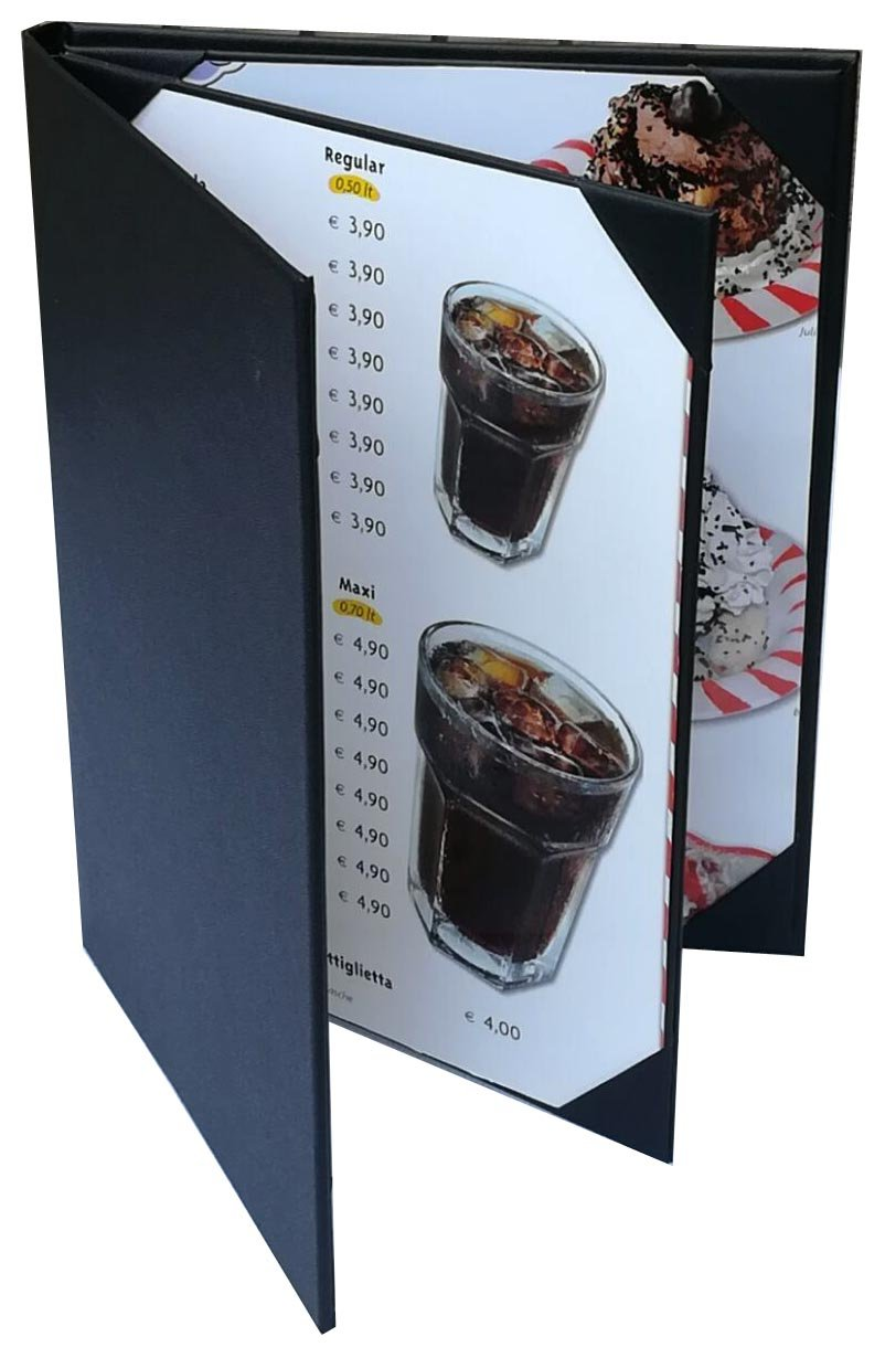 4 Pcs of Restaurant Menu Covers Holders 8.5'' X 11'' Inches, 3panel 4view,Sold By Case,With Clear PVC sheets for Paper Protection