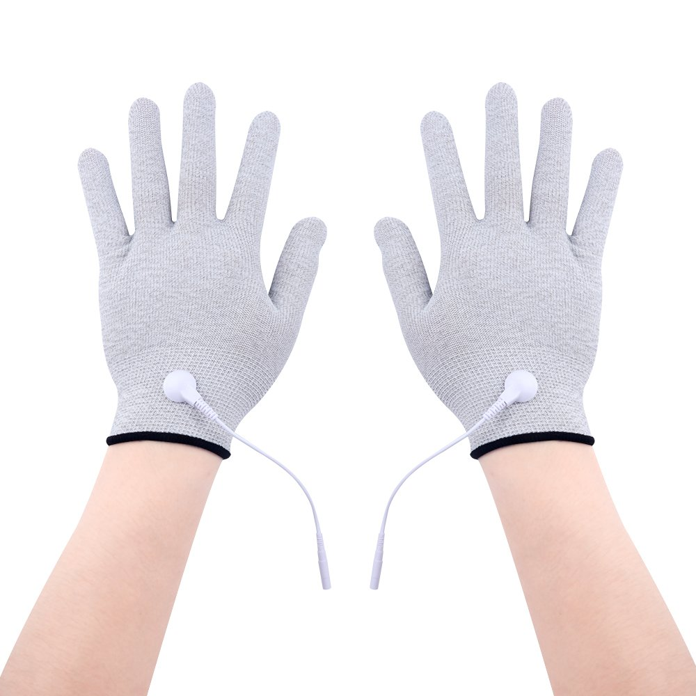 KONMED Pair of Silver Conductive Electrode Massage Gloves for Use with TENS/EMS Machine (FDA Approved)