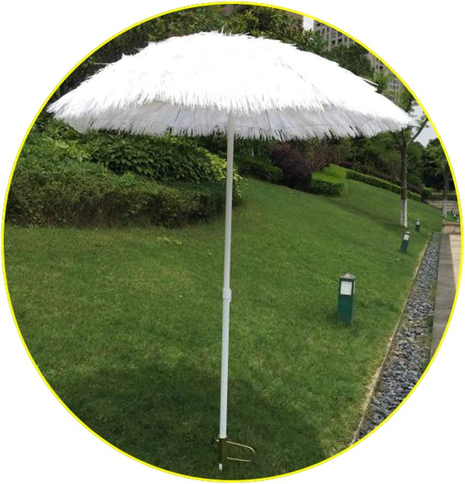 Parasol Sombrilla De Paja Blanca De 180 Cm Hula Hawaiana Ajustable En Altura Puede Utilizar para Jardín/terraza/natación (con Ancla De Arena)