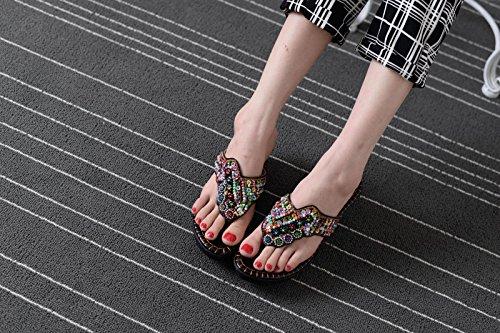 Xing Lin Sandalias De Mujer Verano Nuevo Casual Zapatos De Cuero Bordada Pendiente Con Gruesas Sandalias Mujer black