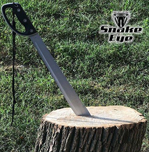 Snake Eye Tactical Full Tang Two Tone Handle Fixed Blade Machete w/Sheath Outdoors Hunting Camping Fishing (Silver)