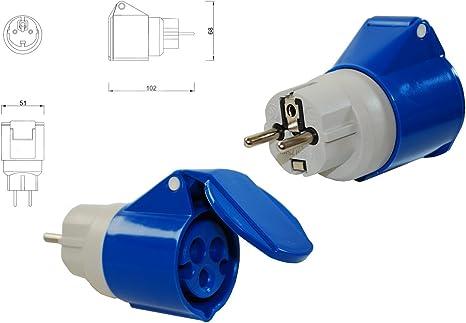 Neuer CEE Adapter 230 V//16 A Schuko-Stecker auf CEE-Steckdose