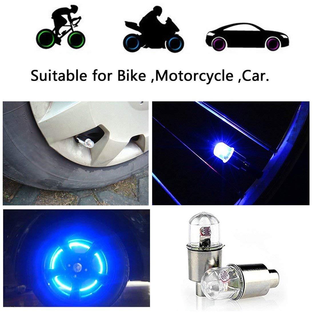 Baynne 2 Pcs//Set LED Cycling Bike Bicycle Neon Car Wheel Tyre Tire Valve Mountain Road Caps Round Head Wheel Lights