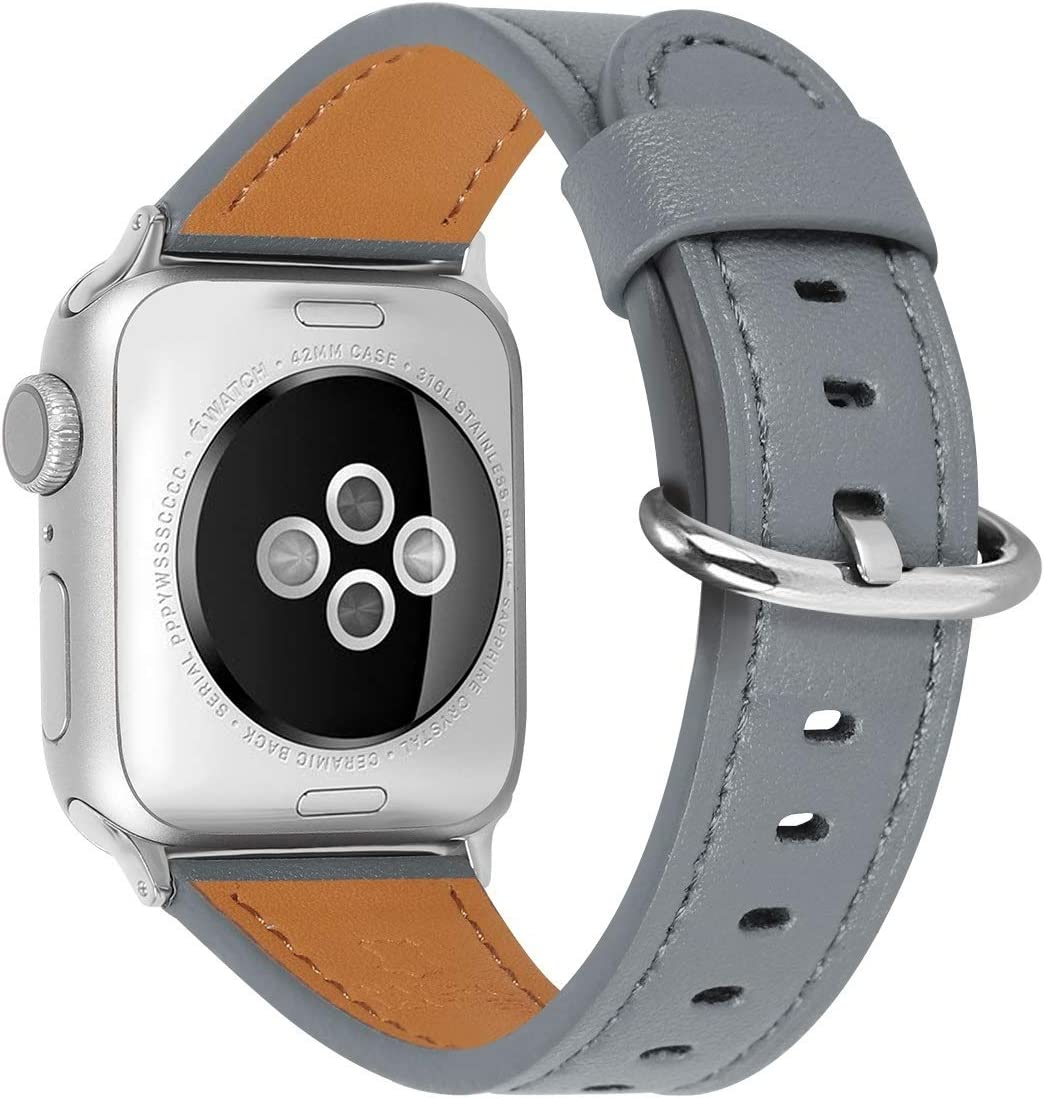 HUAFIY Compatible iWatch Band 38mm 40mm Genuine Leather Band Replacement Compatible with Apple for iWatch Series 6/ 5/ 4/ 3/2/1,SE, Sport, Edition, dark grey Band (dark grey+silver buckle, 38mm40mm)