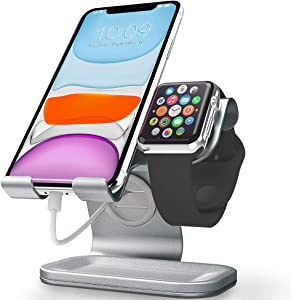Cellphone and Apple Watch Stand, ZVEdeng 2 in1 Universal Desktop Stand Holder for iPhone, iPhone 11 Pro Max, iPhone 11, iPhone 11 Pro, Phone and Apple Watch(38mm-42mm)-Gray Leather