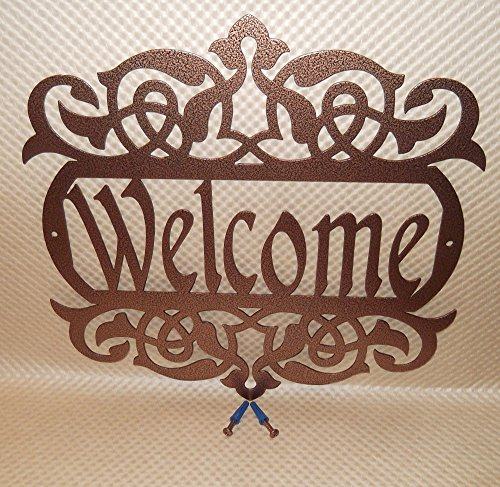 welcome-sign-metal-art-exterior-copper-vein-color-solid-steel-handmade-in-usa-hardware-included