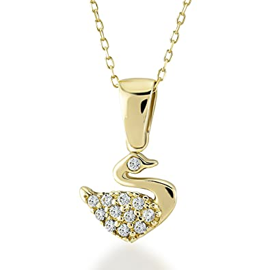 e34482a72 Gelin 14k Solid Yellow Gold Swan Pendant with Cubic Zirconia Chain Pendant  Necklace for Women -