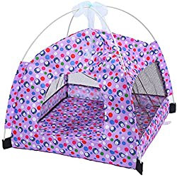 Machao Pet Foldable Tent Dogs Cats Puppy Rabbits Indoor/outdoor Removable Mesh Playpens Mesh with Mat-Purple