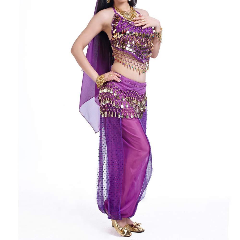 saludable púrpura TopTie Disfraz de Danza del Vientre Sujetador Halter Halter Halter Top y Pantalones Harén Tribales con Conjunto de Bufanda 12Sets  muchas concesiones