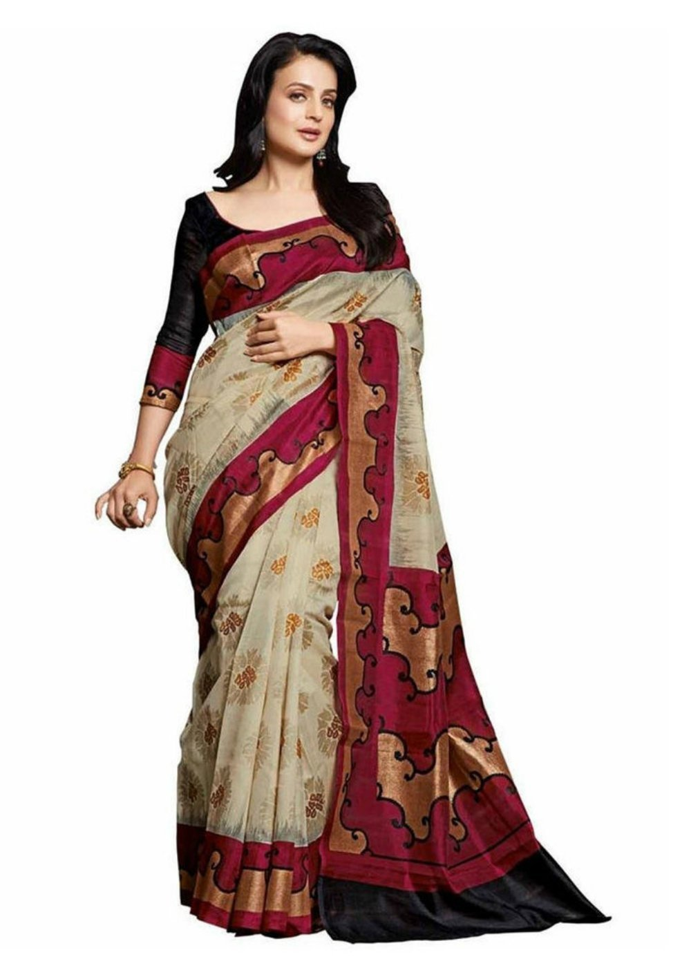 Jaanvi fashion Women's Bhagalpuri Cotton Printed Saree Free Size Beige