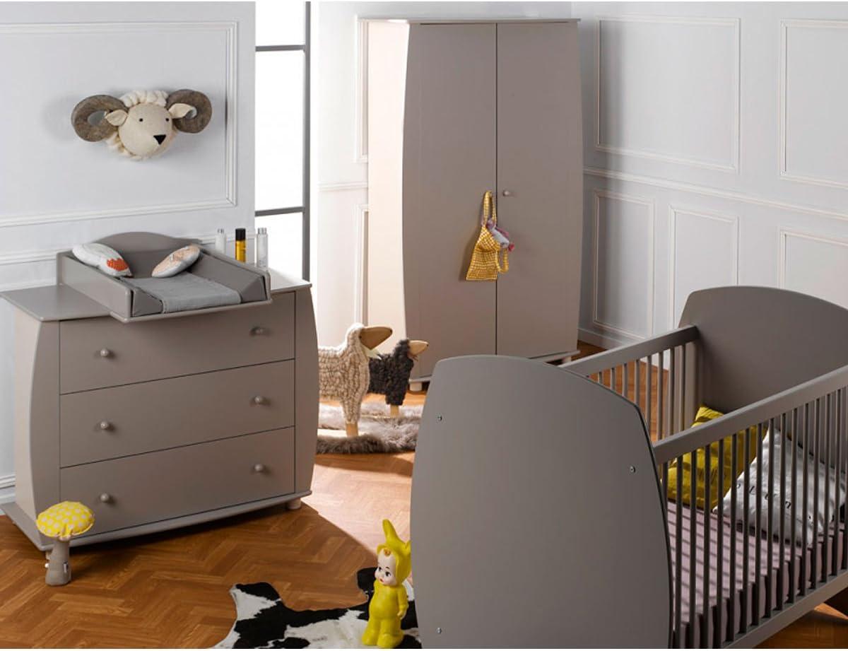 Cámara completa cuna 70 x 140 – Cómoda cambiador – Armario 2 puertas bebé Provence médéa – Lin: Amazon.es: Bebé