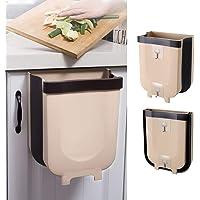 Foldable Trash Bin Hanging Waste Bin Under Kitchen Sink,Wall Trash Can Plastic Wastebasket Over Cabinet Door with Top…