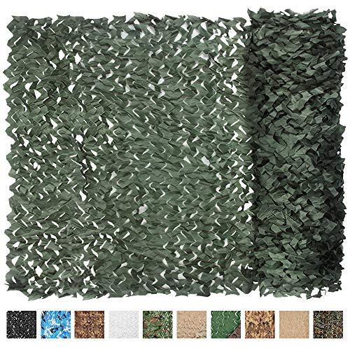 IUNIO Camouflage Netting Camo Net Blinds for Sunshade Camping Shooting Hunting Decoration (Dark Green, 65.6ftx5ft 20mx1.5m) from IUNIO