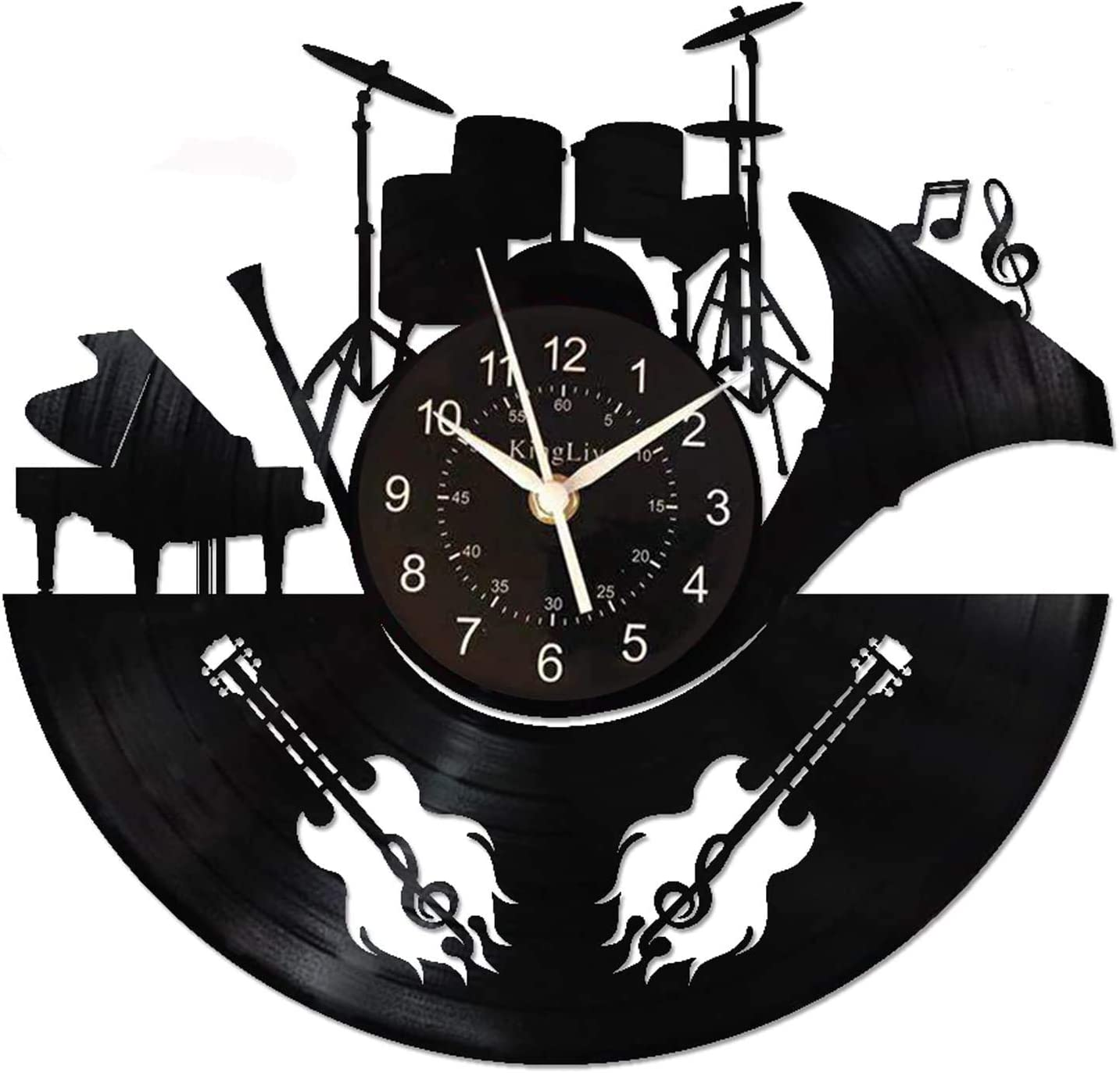 KingLive Music Instrument Black Wall Clock 12 Inches(30cm) Home Guitar Decor Guitar Drums Wall Art - Drummer Gifts for Musicians Men (Music C)