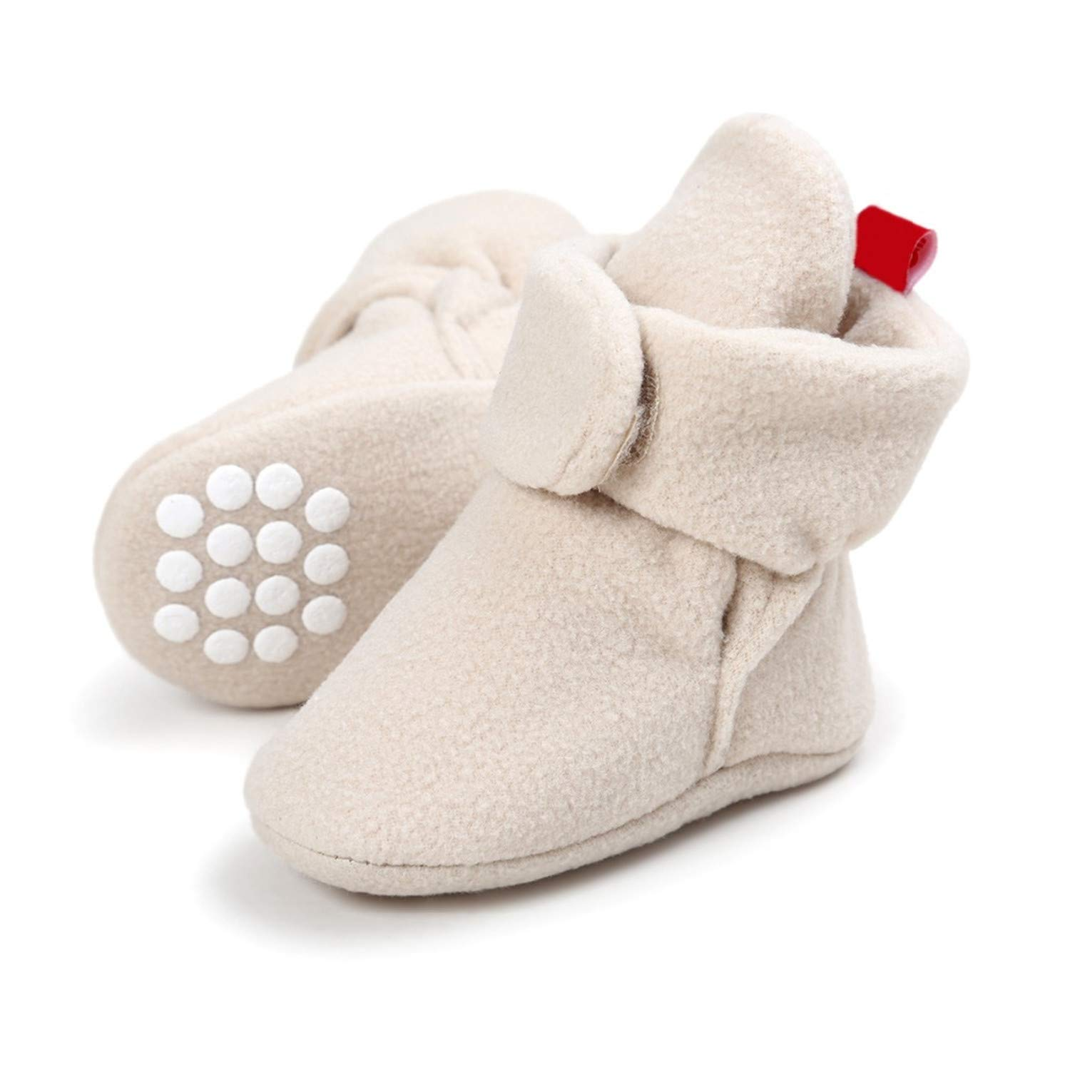 Fralina Cotton Leather Toddler Shoes Boys Winter Warm Faux Fleece Newborn Baby Crib Shoes Anti-Slip