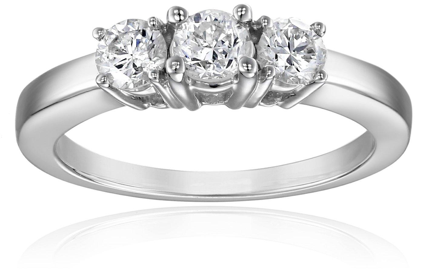 14k White Gold 3-Stone Diamond Ring (3/4 cttw, I-J Color, I1-I2 Clarity), Size 9