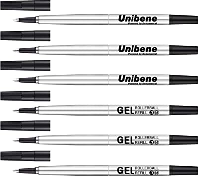 Compatible 5X Black Parker Quink Rollerball Pen Refills Medium